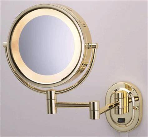 edit beauty illuminated swing arm magnifying mirror light seeall 8 polished brass finish dual sided surround light