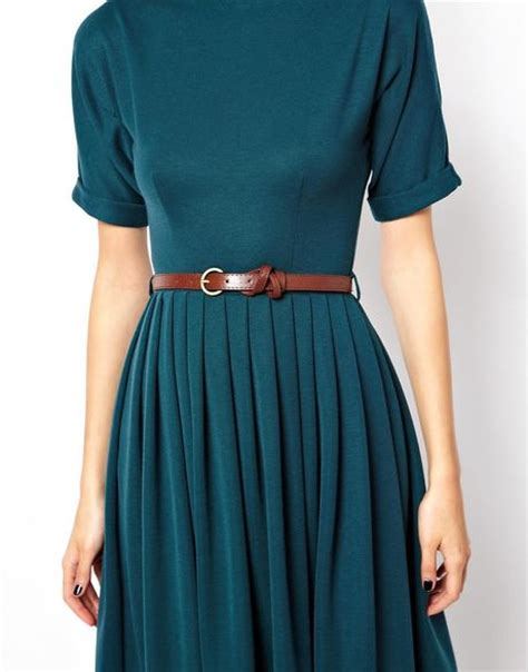 asos midi dress with skirt and belt in green lyst