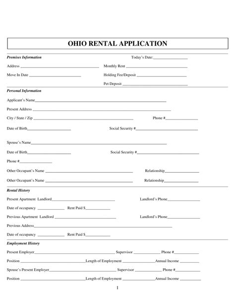 Free Ohio Rental Application Form Pdf Eforms Free Fillable Forms Ohio Employment Application Template