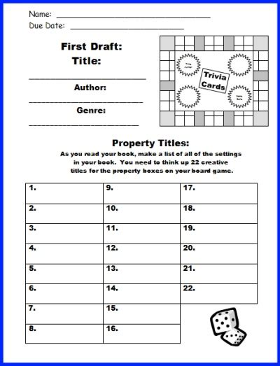 game board book report project templates worksheets