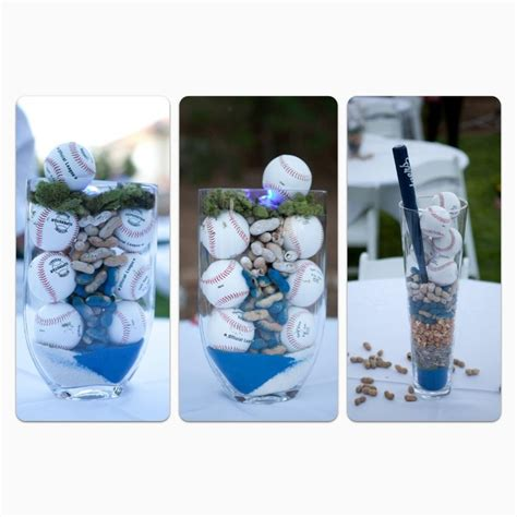 baseball wedding centerpieces amazing centerpieces using colored sand in team colors wedding ideas baseball wedding theme