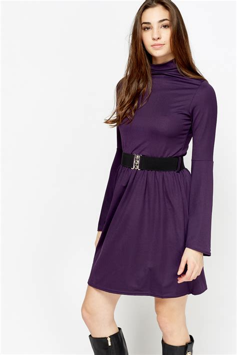 flare sleeve belted dress 4 colours just 163 5