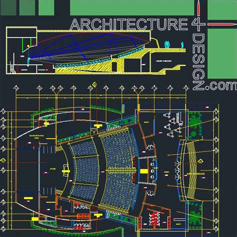 free download autocad layout plan auditorum architecture design sles autocad drawings