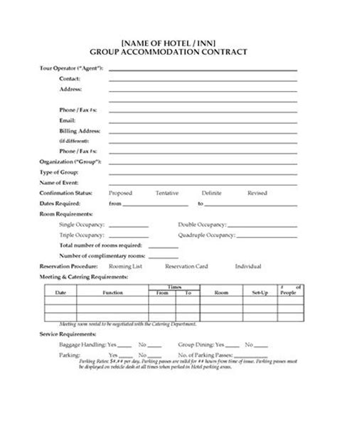 Requirements For Renting A Hotel Room by Hotel Accommodation Contract Forms And
