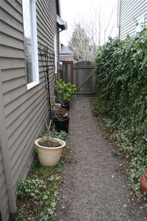 Gravel Side Yard Before Garage Side Yard With Pea Gravel Traditional
