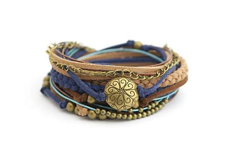 brown blue boho wrap bracelet hippie bohemian jewelry brown