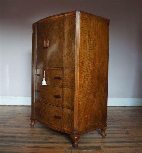 Tallboy Wardrobe With Drawers by Serpentine Antique Deco Burr Walnut Tallboy Wardrobe