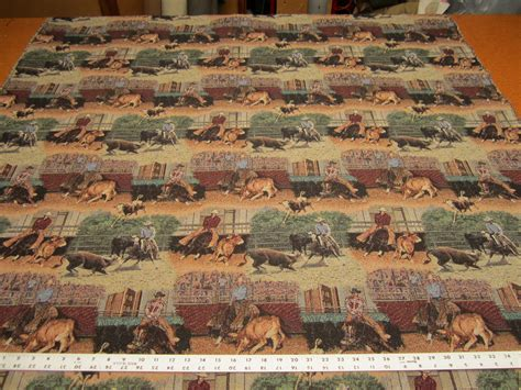 cowboy upholstery fabric cutting horse rodeo cowboy tapestry upholstery fabric made