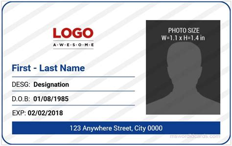 id card design in word format 5 best office id card templates ms word microsoft word