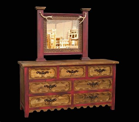 Wood Bedroom Dresser Western Rustic 7 Drawer Dresser With Mirror Cabin Log Bedroom Wood Furniture Ebay