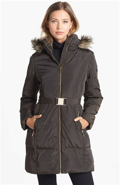 Michael Michael Kors Faux Fur Trim Quilted Coat by Michael Michael Kors Faux Fur Trim Quilted Coat In Black