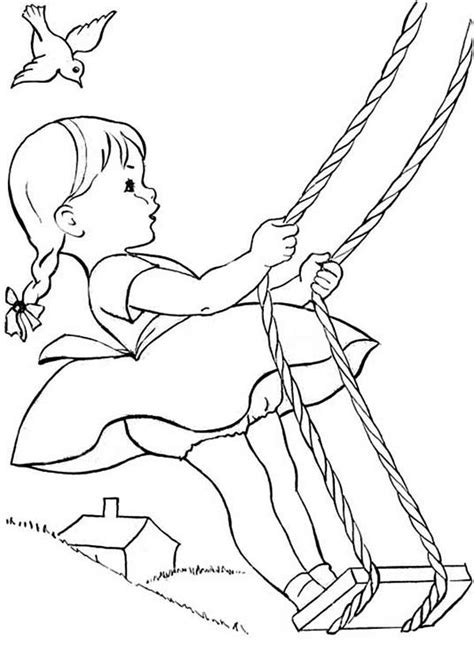 swing color fun summertime vacation with swing coloring page