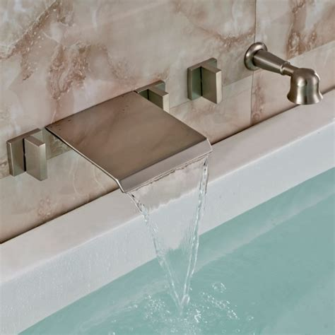bathtub waterfall brushed nickel wall mount waterfall faucet with handheld