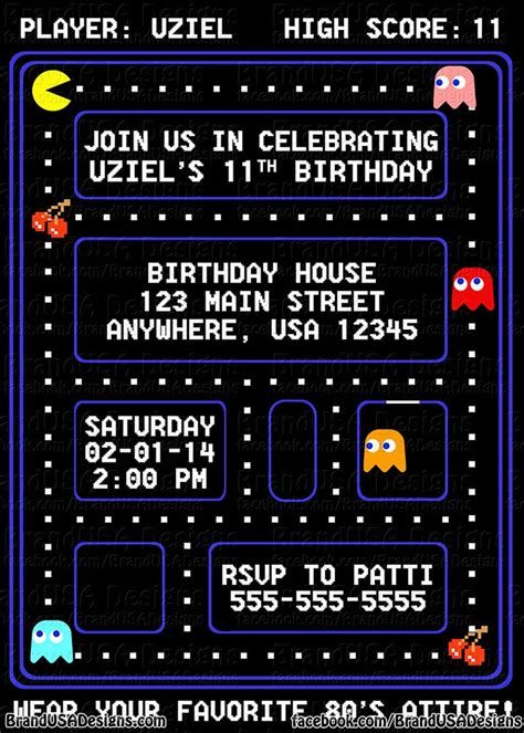 Pacman Party Invitations Google Search Party Ideas Pinterest Invitations Custom Pac Birthday Invitation Template