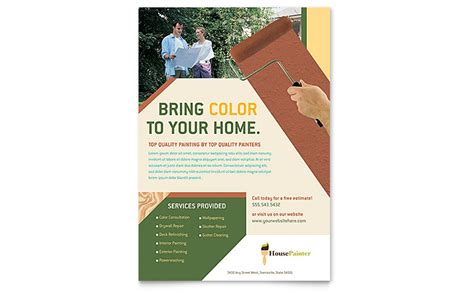 Painter Painting Contractor Flyer Template Word Publisher Painting Template Free