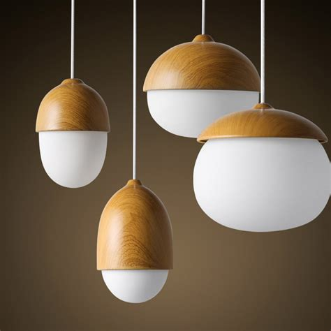nordic style ike home decorative wood pendant light nut