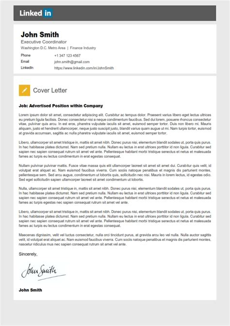 Resume Templates Linkedin Linkedin Cover Letter 001