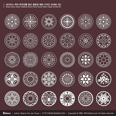 korean pattern vector boians vector korean traditional round flower symbol