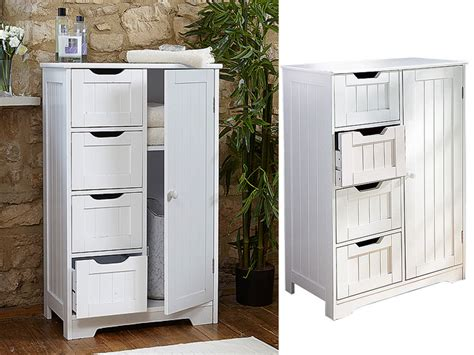 White Wooden Cabinet With 4 Drawers Cupboard Storage Small Bathroom Storage Drawers