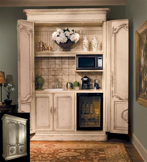 mini kitchen in bedroom turn an armoire into a coffee bar drink station very