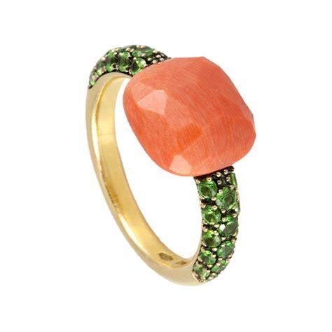 anello pomellato prezzo anello in oro rosa corallo e tzavorite mis 13