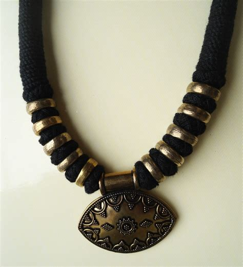 Handmade Thread Jewellery - handmade thread necklace with oxidized pendant unisex