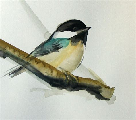 birds painting bird painting chickadee original watercolor painting