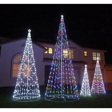 120 10 ft multi color outdoor led cone tree with