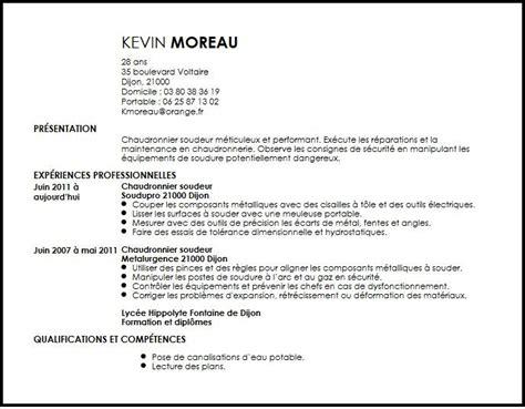 Lettre De Présentation Technicien Cv Chaudronnier Soudeur Exemple Cv Chaudronnier Soudeur Livecareer