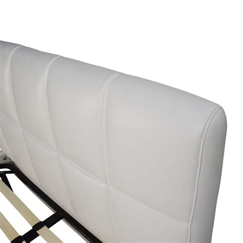 white leather queen bed frame  headboard beds