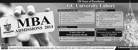 Mba In Lahore Pakistan by Admissions Open 2014 Mba In Gc Lahore Last