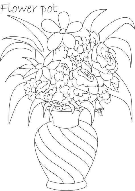 flower pot coloring printable page  kids