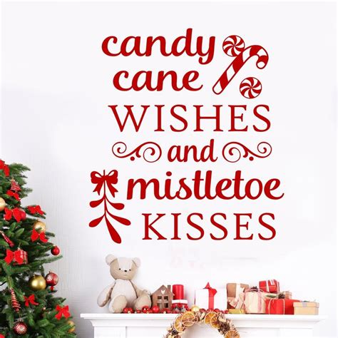 candy cane mistletoe quote christmas decal vinyl wall lettering christmas decals letter