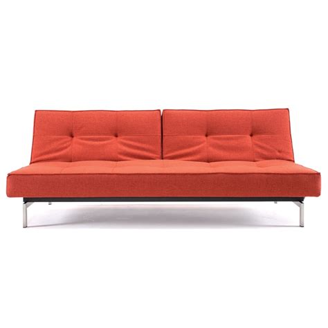 orange sleeper sofa innovation splitback sofa sleeper in stainless orange