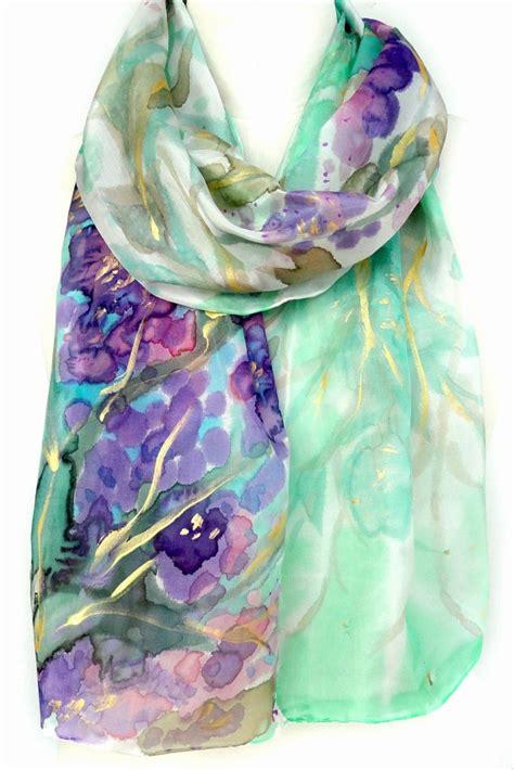 silk scarves painted silk scarf pink purple