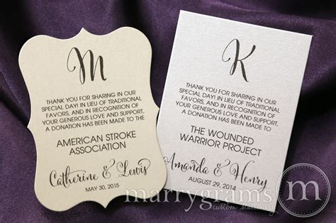 in lieu of gifts wedding wedding donation card initial in lieu of traditional favors