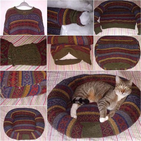 how to make a cat bed diy pet bed from old sweater tutorial beesdiy com