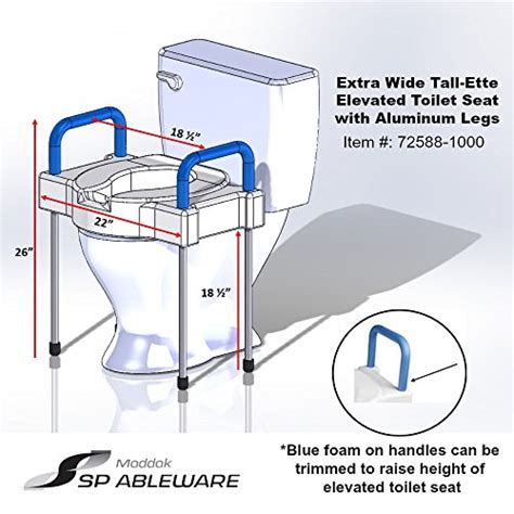 maddak tall ette elevated toilet seat  extra wide