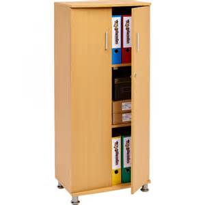 Beech Effect Bookcase Tall Lockable Cabinet 3 Shelves For A4 Ring Binders