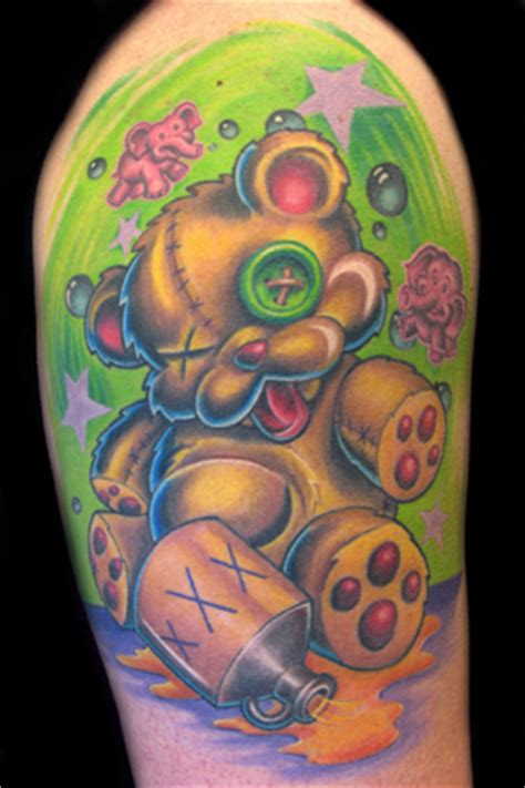 new school animal tattoo color new school drunken teddy bear color by nate beavers