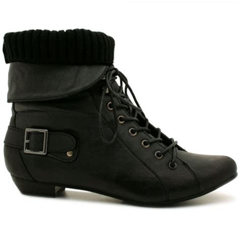 womens black leather style lace up buckle knit pixie ankle