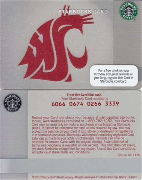 Starbucks Gift Cards Ebay - starbucks gift cards quot wsu quot washington state university ebay non alcoholic drinks
