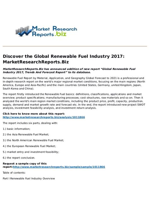 2017 trend forecast global renewable fuel industry 2017 trends and forecast