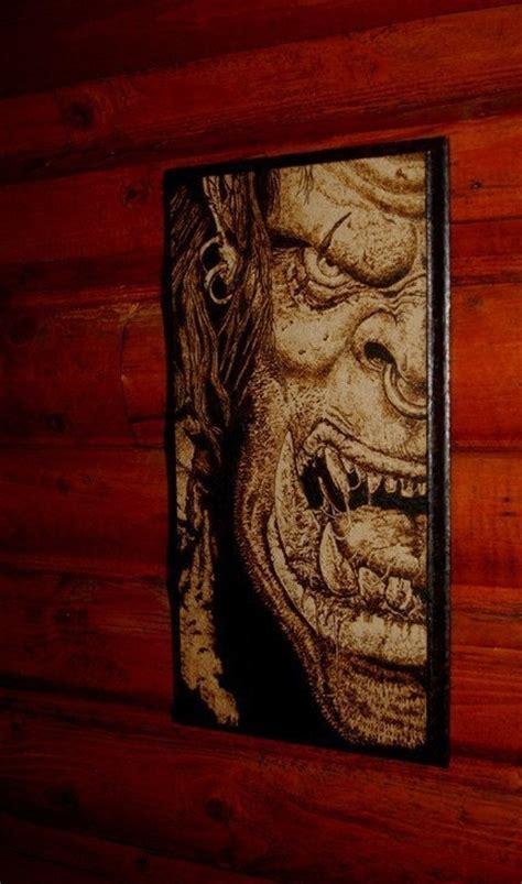 world of warcraft orc woodburned home decoration 44 90