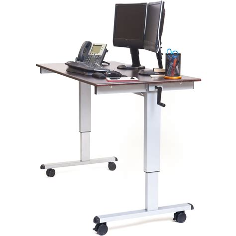 standup desk luxor standup cf60 dw 60 quot crank adjustable stand up desk
