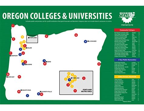 map of oregon universities poster oregon colleges map oregon gear up oregon