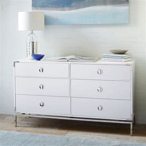 white lacquer dresser malone caign 6 drawer dresser white lacquer west elm