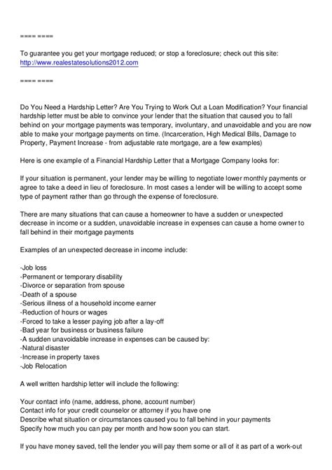 Foreclosure Hardship Letter Sle For Bank sle hardship letter to get out of jury duty 28 images