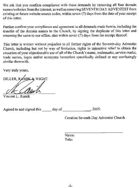Demand Letter Before Mediation Newsbreak Seventh Day Adventist Church Trademark Alert