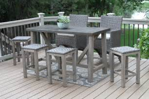 Resin Patio Furniture Sets by Teak Wood Rectangle Bar Table With Brown Composite Top